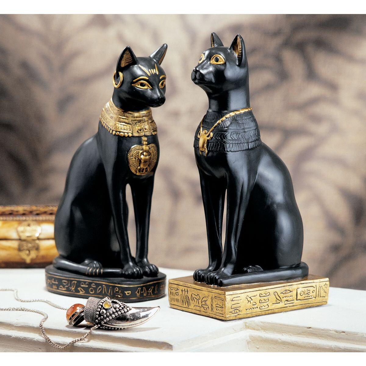 Design Toscano Egyptian Cat Goddess Bastet Figurine In Matte Black