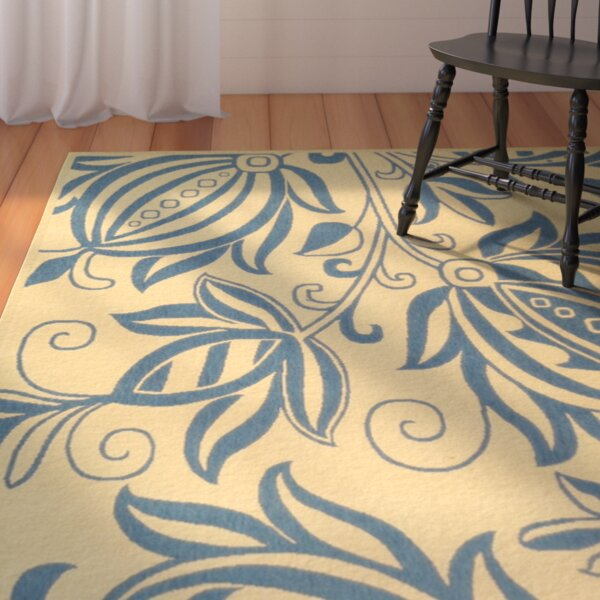 Laurel Natural / Blue Outdoor Area Rug by August Grove