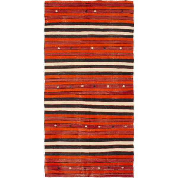One-of-a-Kind Gaenside Handmade Kilim Runner 5'5 x 10'9 Wool Orange/Red/Black Area Rug