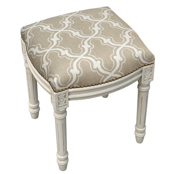 Trellis Linen Upholstered Vanity Stool by 123 Creations