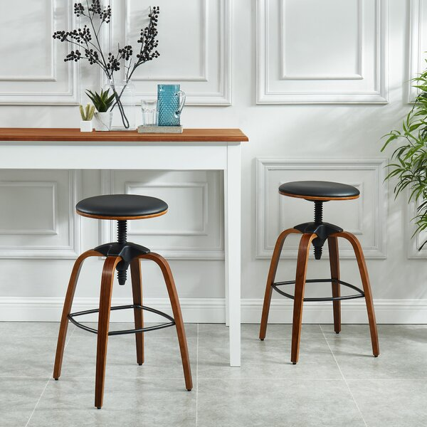 Aust Adjustable Height Swivel Bar Stool (Set of 2) by Williston Forge Williston Forge