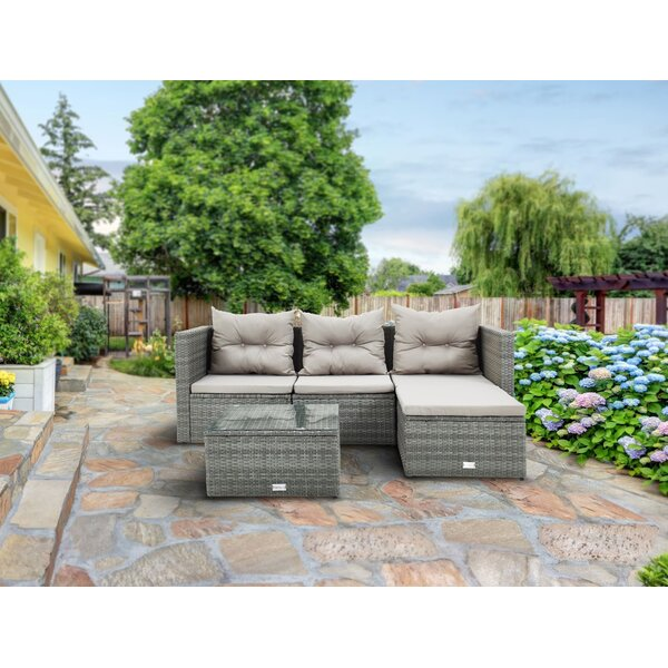 Kathy 5 Piece Rattan Sectional Seating Group with Cushions by Bayou Breeze