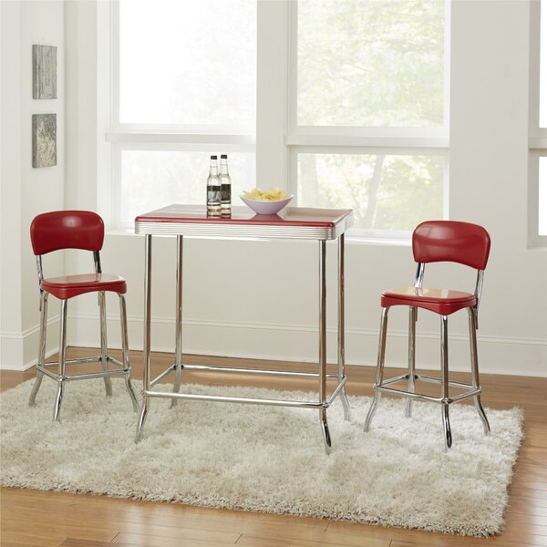 Bate Red Retro 3 Piece Dining Set by Ebern Designs