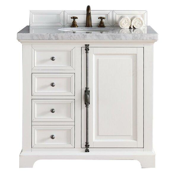 Ogallala 36 Single Cottage White Stone Top Bathroom Vanity Set by Greyleigh