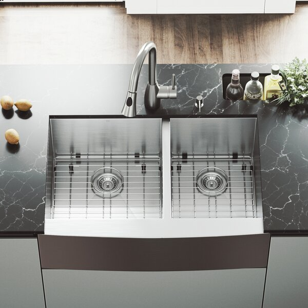 33 L x 22 W Double Basin Farmhouse Kitchen Sink with Faucet, Grid, Strainer and Soap Dispenser by VIGO
