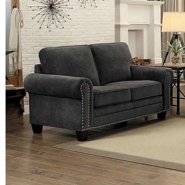 Haupt Fabric Upholstered 2-Seater Loveseat with Nail head Trim, Dark Gray by Red Barrel Studio
