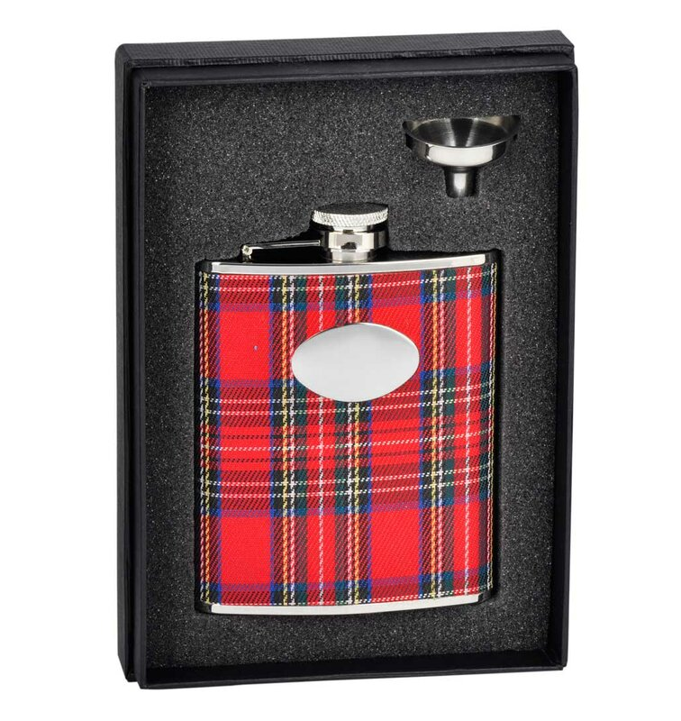 Scrooge Red Plaid Wrapped Stainless Steel Flask Gift Set