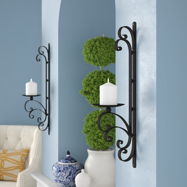 3-Dimensional Scroll Iron Wall Sconce Candle Holder (Set of 2) by Darby Home Co