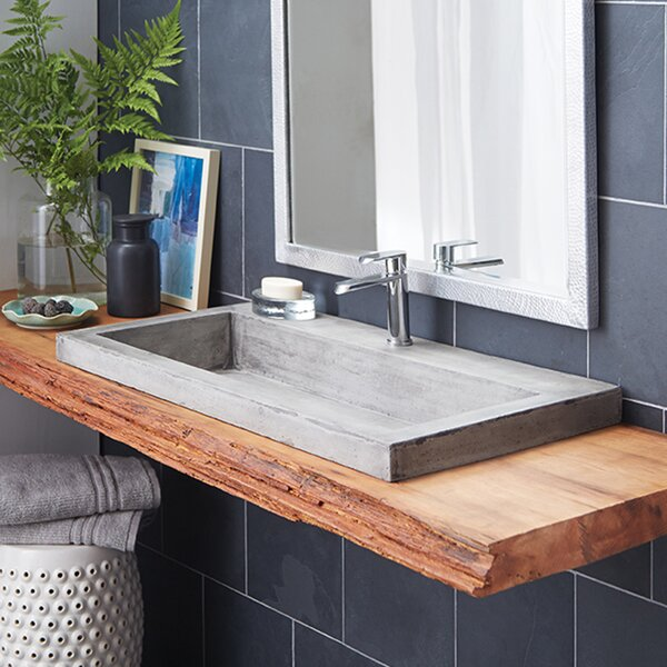 Trough Stone Rectangular Drop-In Bathroom Sink by