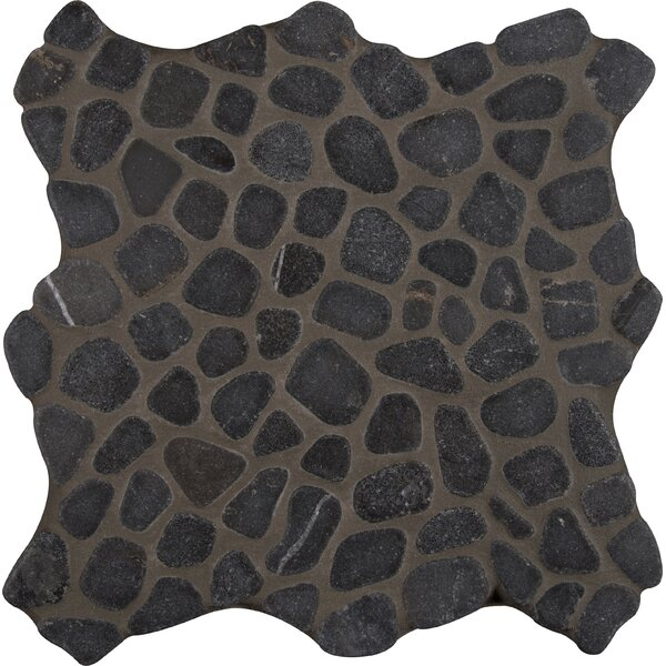 Tumbled 12 x 12 Marble Pebble Mosaic Tile in Black by MSI