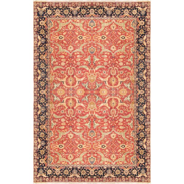 Agra Hand-Knotted Wool Rust/Navy Area Rug by Pasargad