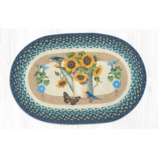 Moronta Sunflower Water Can Oval Blue/Brown Area Rug by August Grove