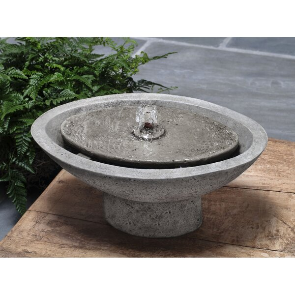 Zen Concrete Oval Garden Garden Terrace Fountain by Campania International