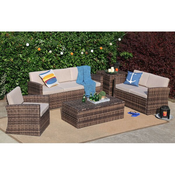 Spain 5 Piece Rattan Sofa Seating Group with Cushions by Rosecliff Heights Rosecliff Heights