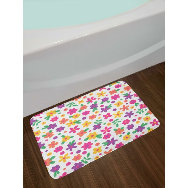 Cheerful Kids Garden Come into Bloom for Jolly Children Petals of Summer Season Bath Rug by East Urban Home