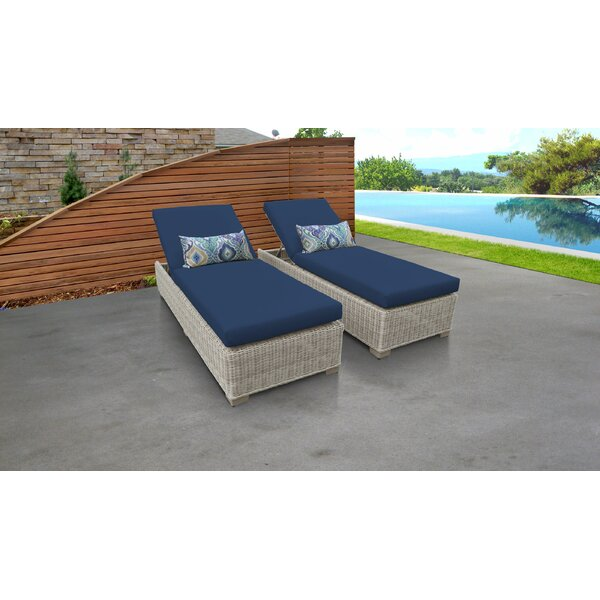 Claire Sun Lounger Set with Cushion and Table (Set of 2) by Rosecliff Heights