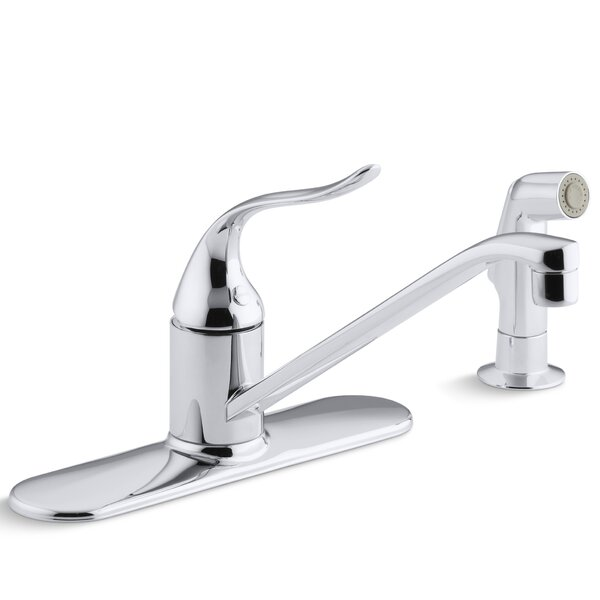 Coralais Single-Control Kitchen Sink Faucet with 10 Swing Spout, Ground Joints and Sidespray by Kohler