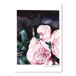 'Blooms On Black 1' Painting Print by Willa Arlo Interiors