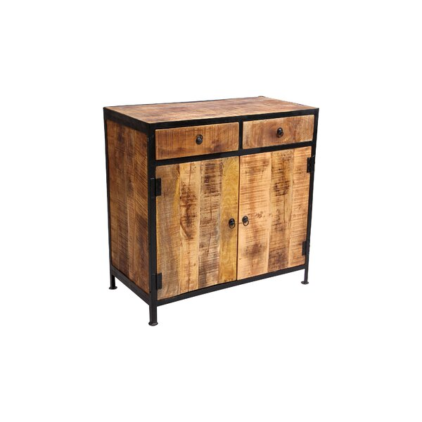 Dante Industrial Reclaimed Wood and Iron 2 Drawer Accent Cabinet by Millwood Pines Millwood Pines