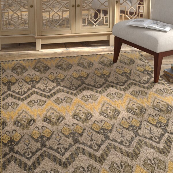 Glenoe Gold / Beige Contemporary Rug by Bloomsbury Market