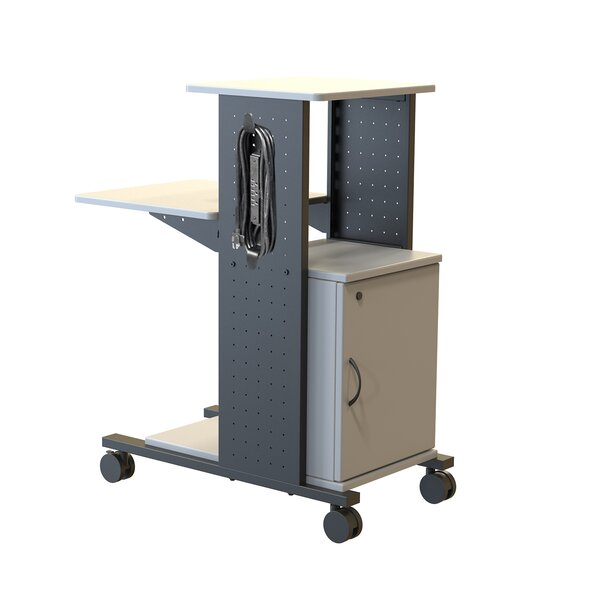 4-Shelf Mobile Presentation Station AV Cart with Cabinet by H. Wilson Company