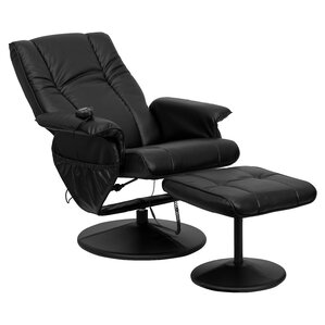 Leather Heated Reclining Massage Chair with ..