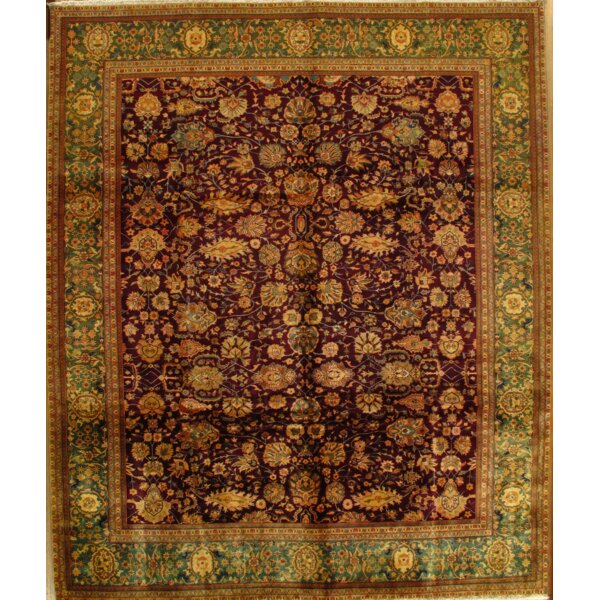 Agra Hand-Knotted Wool Burgundy/Green Area Rug by Pasargad NY