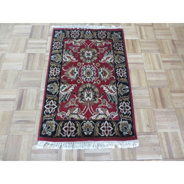 One-of-a-Kind Rhyne Hand-Knotted Wool Burgundy/Black Area Rug by Astoria Grand