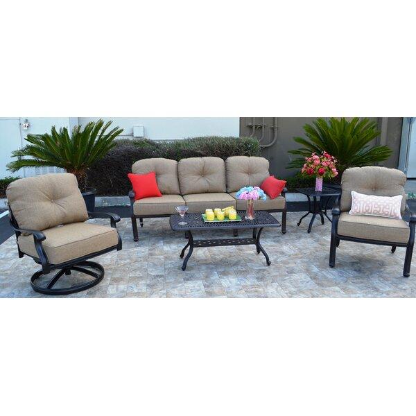 Sidney 5 Piece Sunbrella Sofa Set with Cushions by Three Posts