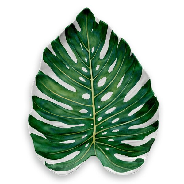Orient Monstera Leaf Melamine Platter by Beachcrest Home