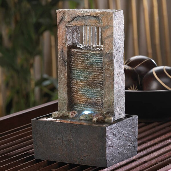 Acrylic Cascading Water Tabletop Polyresin Fountain with Light by Zingz & Thingz