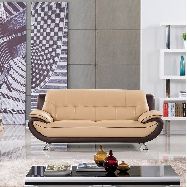 Cool Vickrey Leather Sofa by Latitude Run by Latitude Run