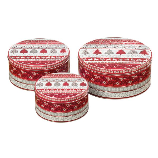 Merry Christmas Cookie 3 Container Tin Set by The Holiday Aisle