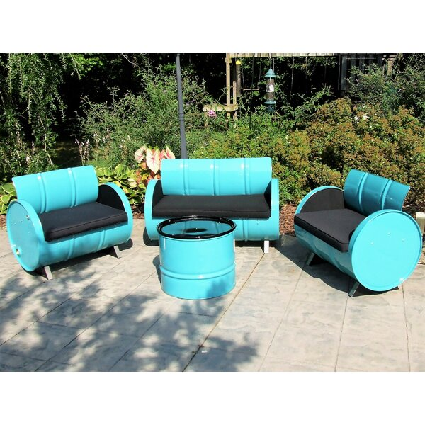 Thadine 4 Piece Sunbrella Sofa Set with Cushions by Millwood Pines