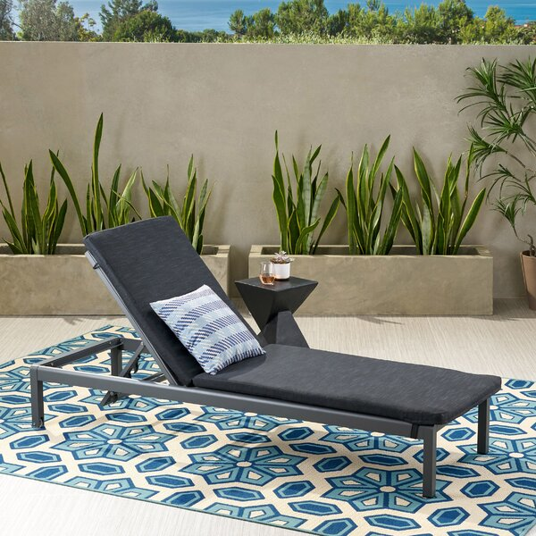 Nino Outdoor Chaise Lounge With Cushion by Wrought Studio Wrought Studio
