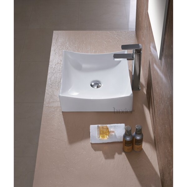 Ceramic Square Vessel Bathroom Sink by Luxier
