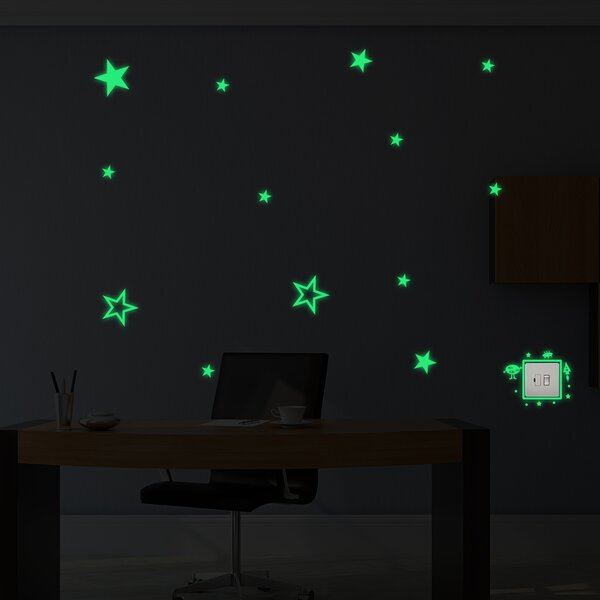 Granby Alien and Stars Glowing Wall Decal by Zoomie Kids