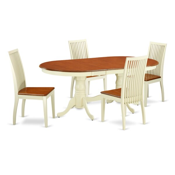 Pilcher 5 Piece Solid Wood Dining Set by August Grove