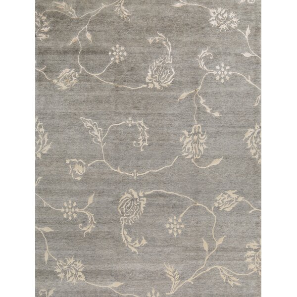 Floral Hand-Knotted Wool Gray Area Rug