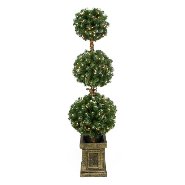 Frosted Artificial Triple Ball Topiary Tree in Pot by Northlight Seasonal