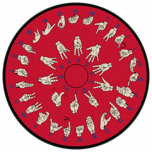 Educational Red Hands That Teach Area Rug by Flagship Carpets