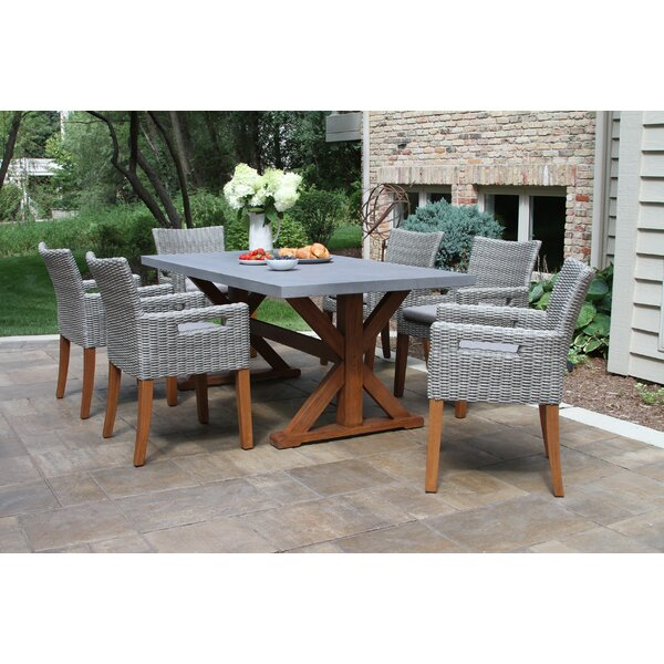Isidore 7 Piece Dining Set with Cushions by Beachcrest Home