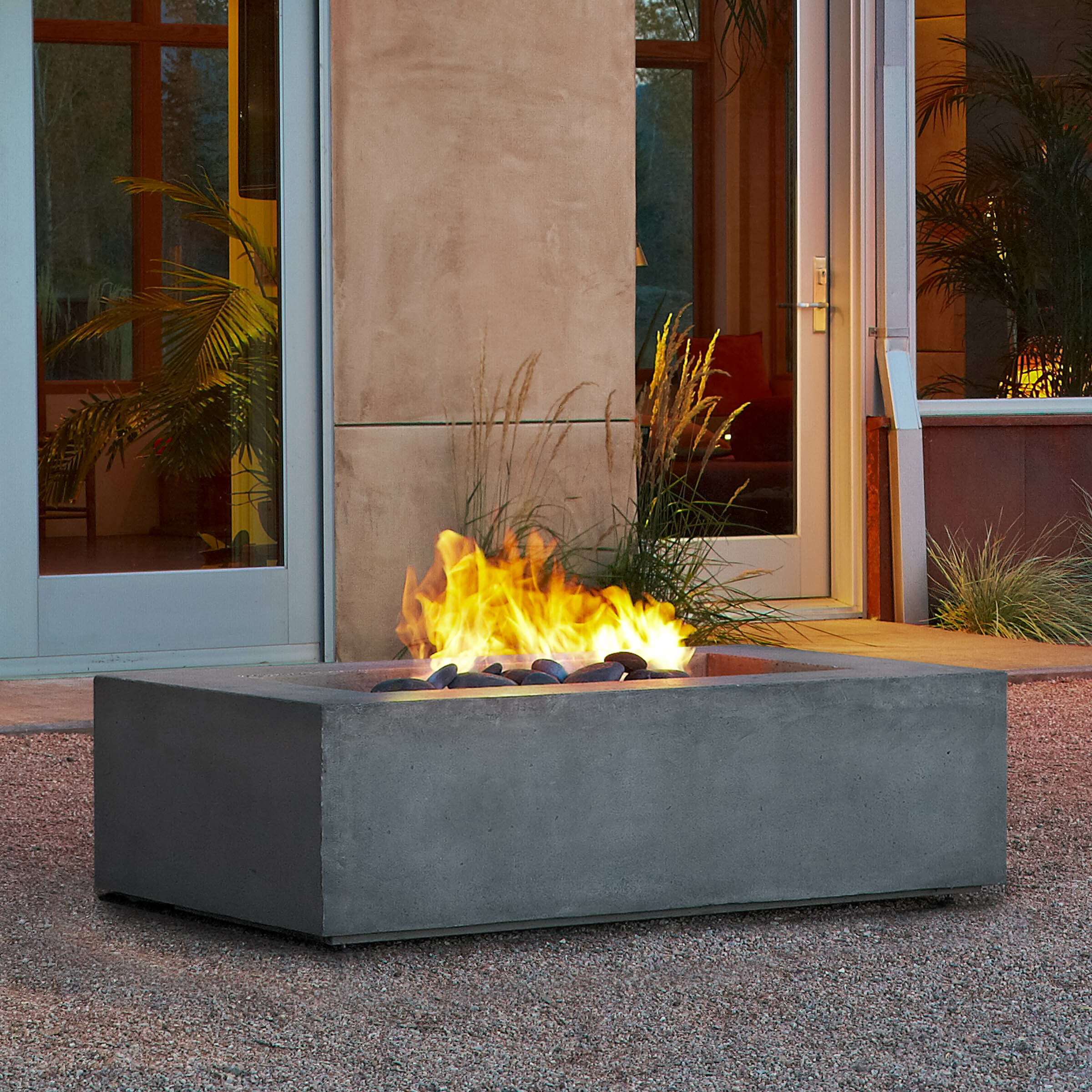 Real Flame Baltic Concrete Natural Gas Fire Pit Table Reviews Wayfair Ca