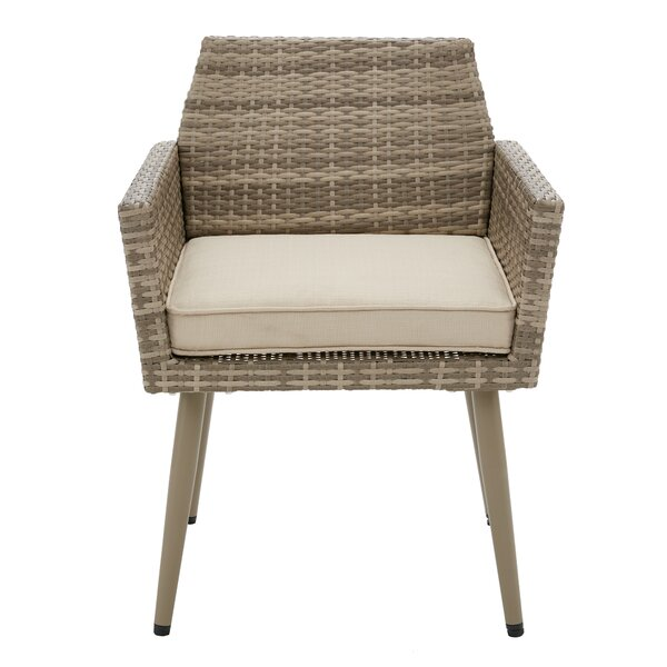 Pantano Patio Dining Chair with Cushion (Set of 2) by Bungalow Rose