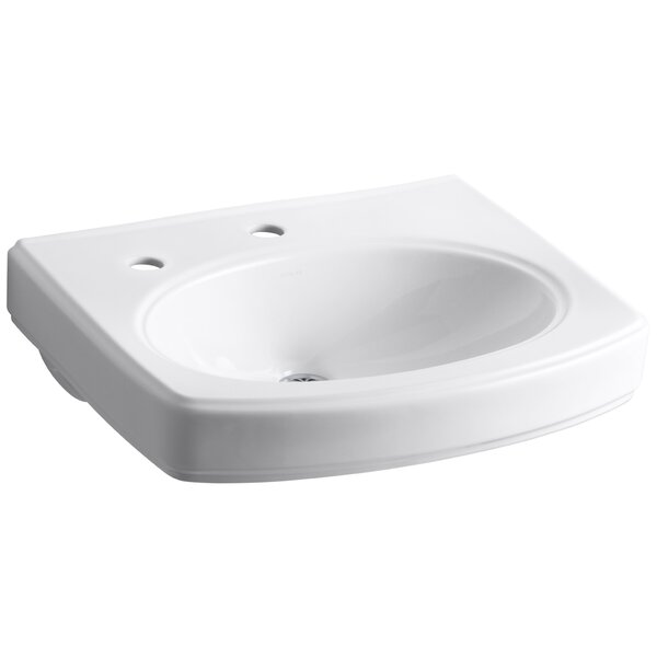 Pinoir Bathroom Sink Basin with Single Faucet Hole and Left-Hand Soap/Lotion Dispenser by Kohler