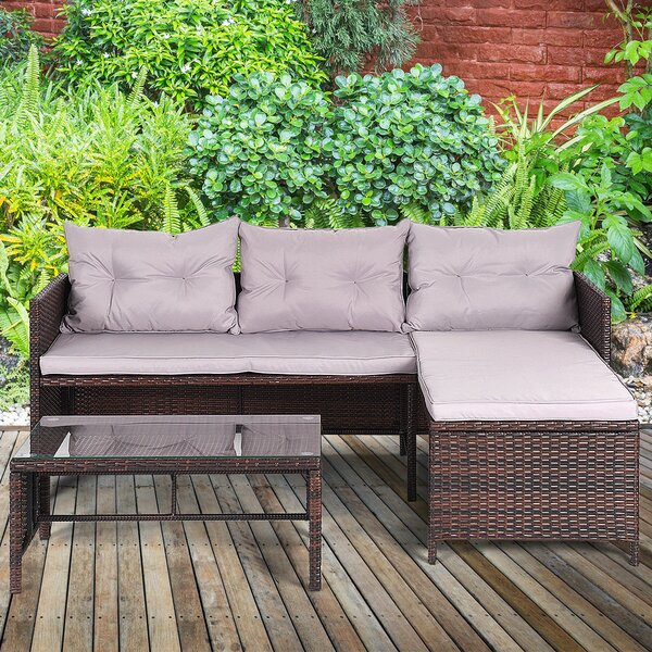 Ber 3 Piece Rattan Sofa Seating Group with Cushion