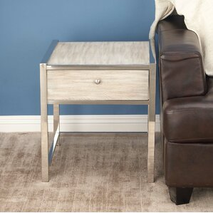 Cole & Grey Stainless Steel/Wood End Table Image