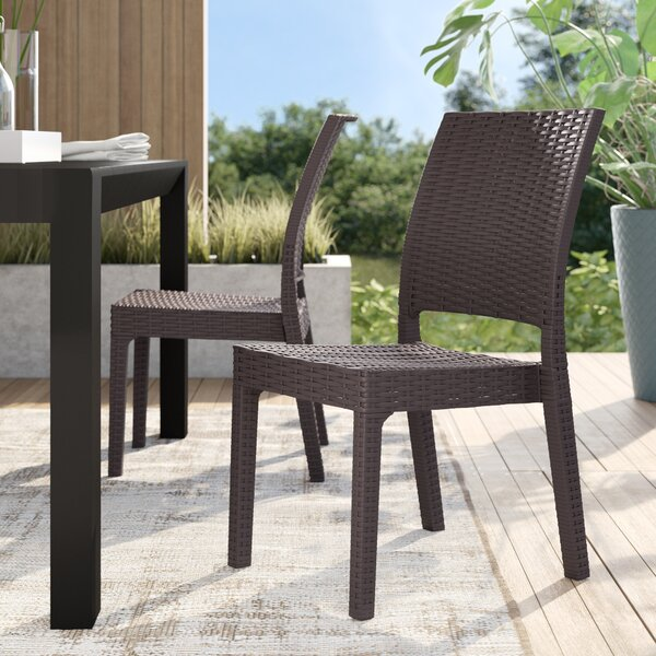 Jayne Stacking Patio Dining Chair (Set Of 2) By Mercury Row