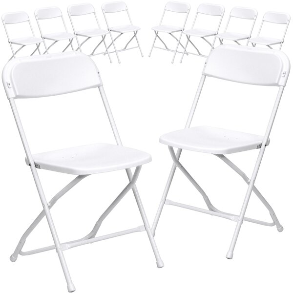 Laduke Plastic Folding Chair (Set of 10) by Symple