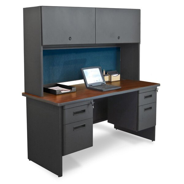 Pronto Double File Computer Desk with Hutch by Marvel Office Furniture